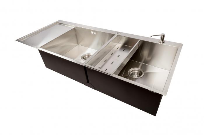 Chiuveta bucatarie dubla inox cu 2 cuve CookingAid ULTIMATE DUO XL cu dozator detergent, scurgator vase/paste/fructe, gratar rulabil inox + accesorii montaj 5