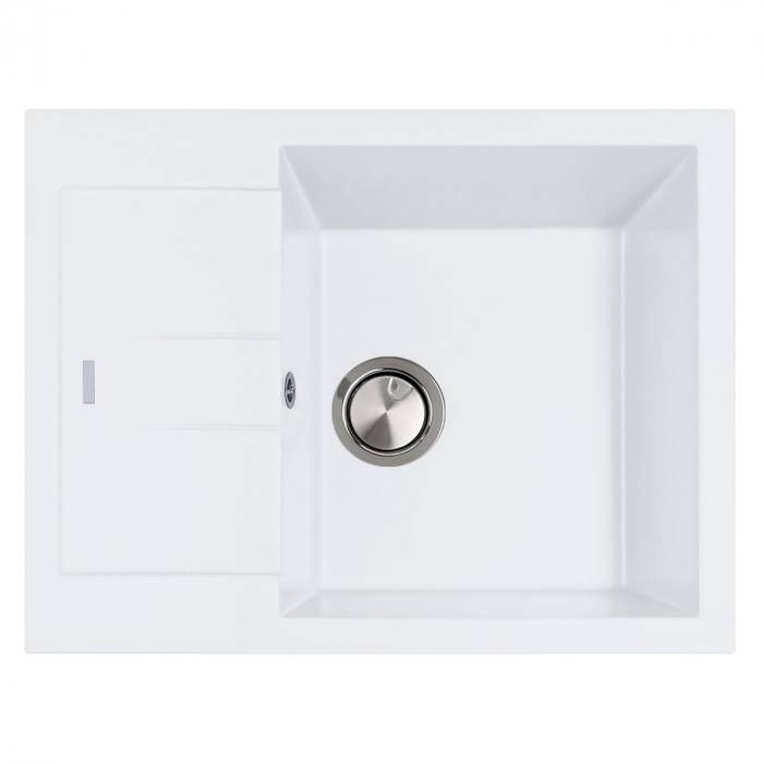Chiuveta bucatarie granit CookingAid Amanda AM6510 Alba / Polar White reversibila stanga/dreapta cu picurator + accesorii montaj 1