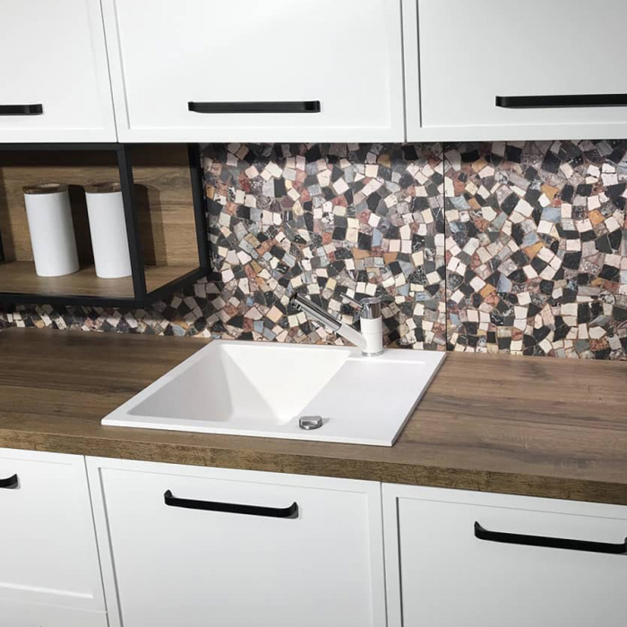 Chiuveta bucatarie granit CookingAid Amanda AM6510 Alba / Polar White reversibila stanga/dreapta cu picurator + accesorii montaj 0