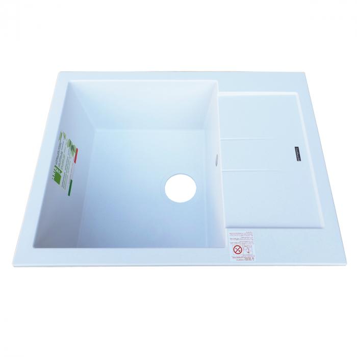 Chiuveta bucatarie granit CookingAid Amanda AM6510 Alba / Polar White reversibila stanga/dreapta cu picurator + accesorii montaj 2