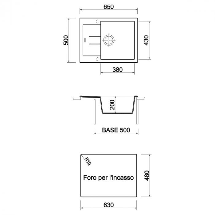 Chiuveta bucatarie granit CookingAid Amanda AM6510 Alba / Polar White reversibila stanga/dreapta cu picurator + accesorii montaj 7