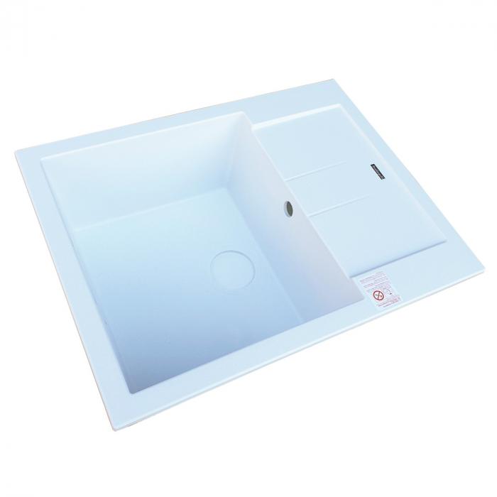 Chiuveta bucatarie granit CookingAid Amanda AM6510 Alba / Polar White reversibila stanga/dreapta cu picurator + accesorii montaj 6