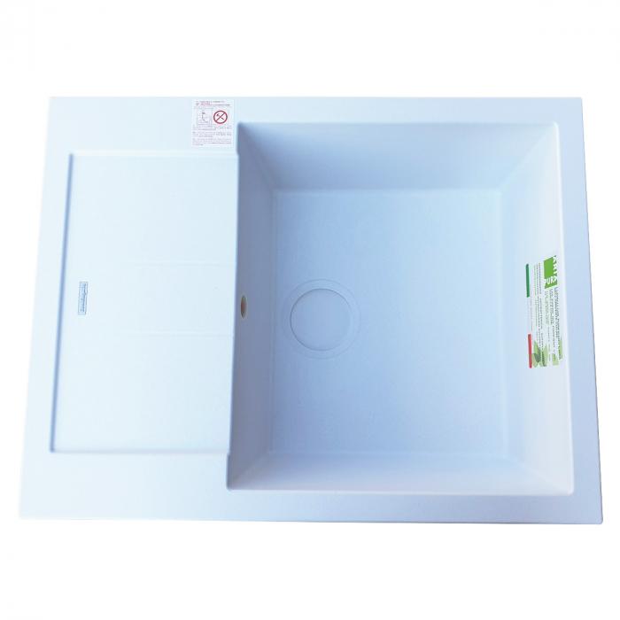 Chiuveta bucatarie granit CookingAid Amanda AM6510 Alba / Polar White reversibila stanga/dreapta cu picurator + accesorii montaj 3