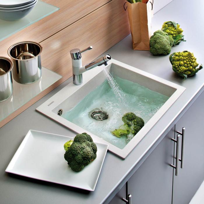 Chiuveta bucatarie granit CookingAid Cube ON5610 Alba / Polar White + accesorii montaj 0