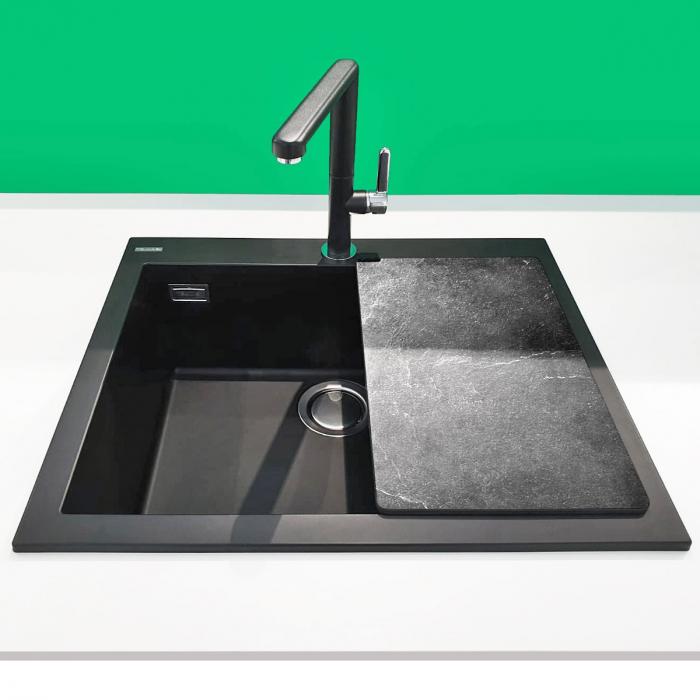 Chiuveta bucatarie granit CookingAid Cube ON5610 Neagra / Black Metal quartz + accesorii montaj 4