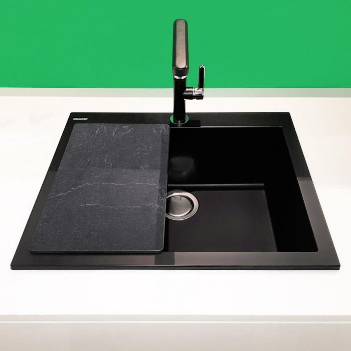 Chiuveta bucatarie granit CookingAid Cube ON5610 Neagra / Black Metal quartz + accesorii montaj 3