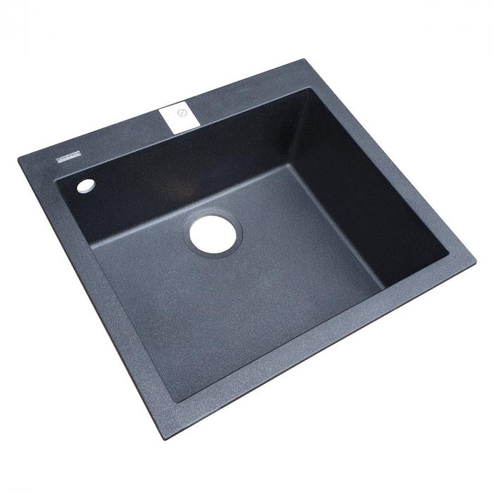 Chiuveta bucatarie granit CookingAid Cube ON5610 Neagra / Black Metal quartz + accesorii montaj 8