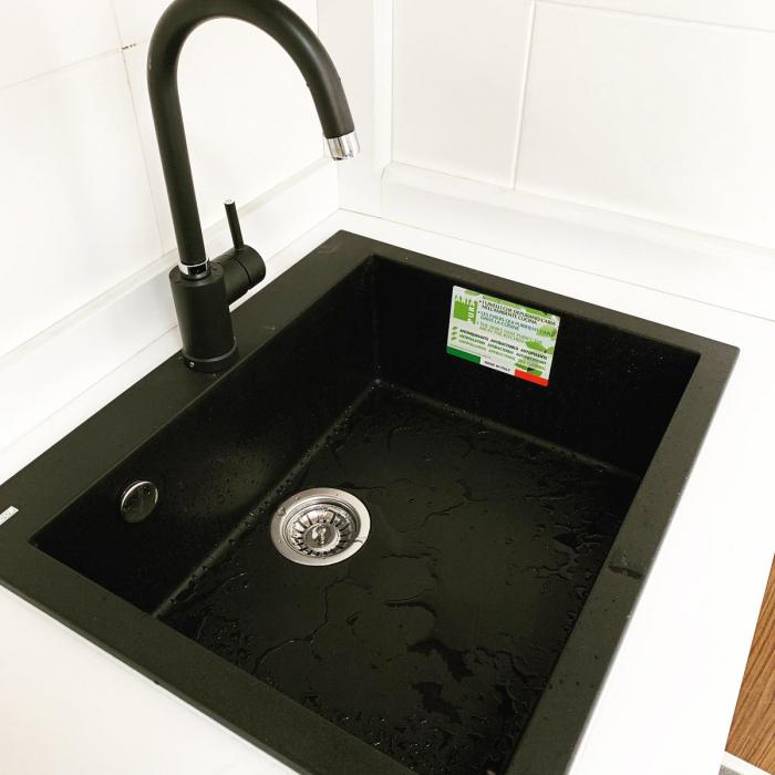 Chiuveta bucatarie granit CookingAid Cube ON5610 Neagra / Black Metal quartz + accesorii montaj 5