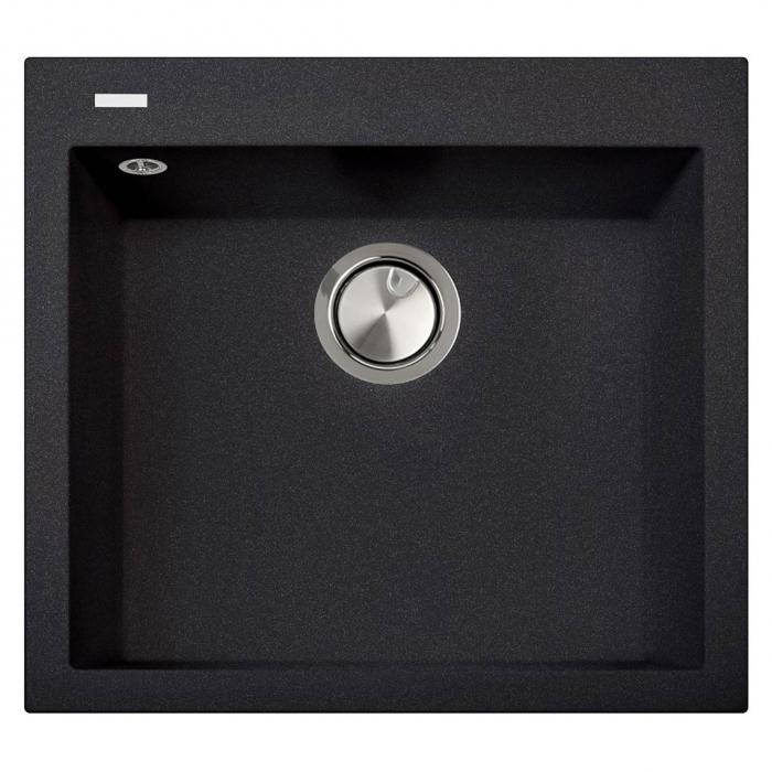 Chiuveta bucatarie granit CookingAid Cube ON5610 Neagra / Black Metal quartz + accesorii montaj 0