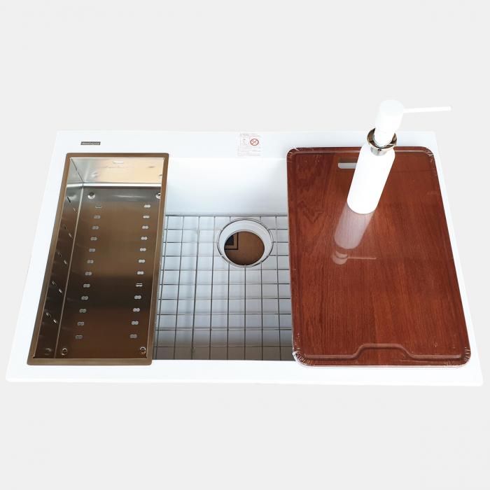 Chiuveta bucatarie granit CookingAid Cube ON7610 Alba / Polar White cu montaj sub blat + accesorii instalare [11]