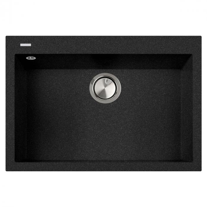 Chiuveta bucatarie granit CookingAid Cube ON7610 Neagra / Black Metal quartz + accesorii montaj [0]