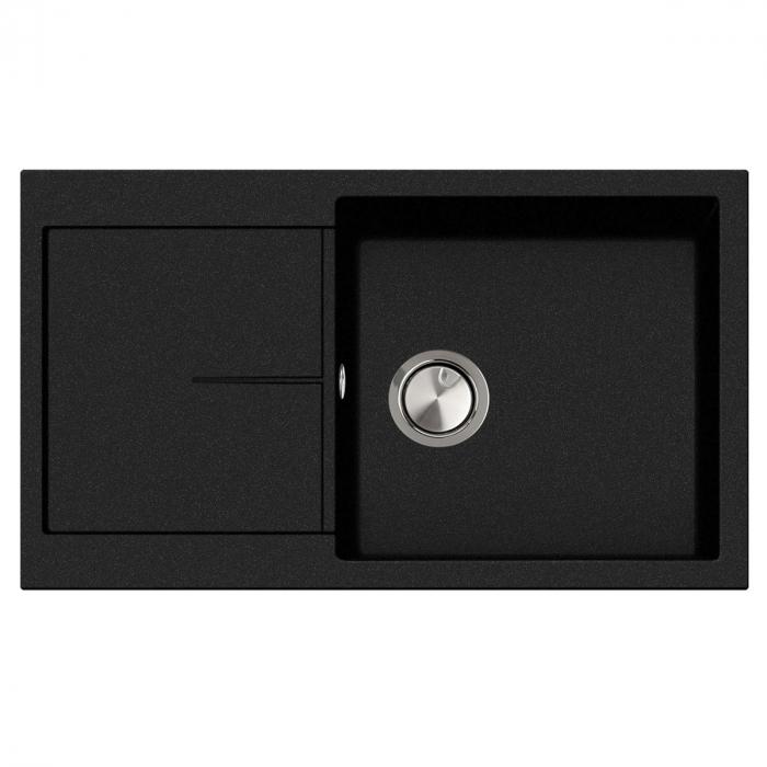 Chiuveta bucatarie granit CookingAid Infinity NF8610 Neagra / Black Metal quartz reversibila stanga/dreapta cu picurator + accesorii montaj [4]