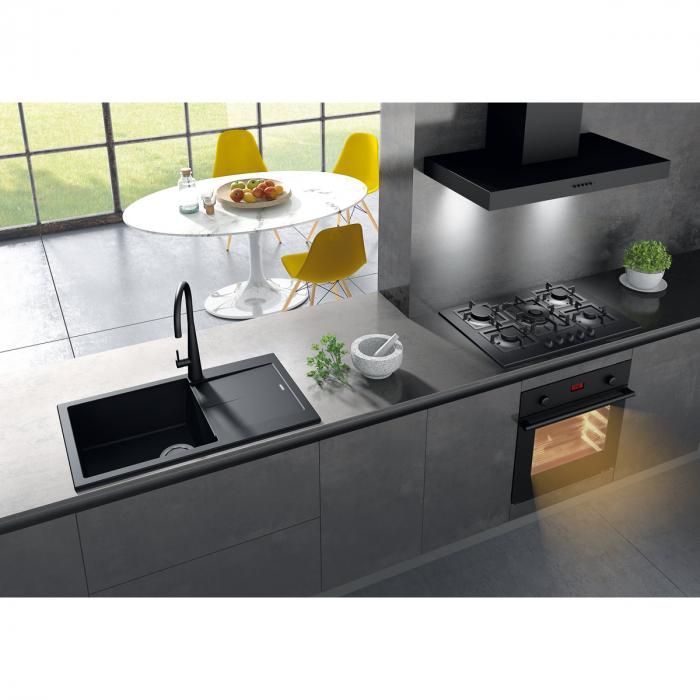 Chiuveta bucatarie granit CookingAid Infinity NF8610 Neagra / Black Metal quartz reversibila stanga/dreapta cu picurator + accesorii montaj [0]
