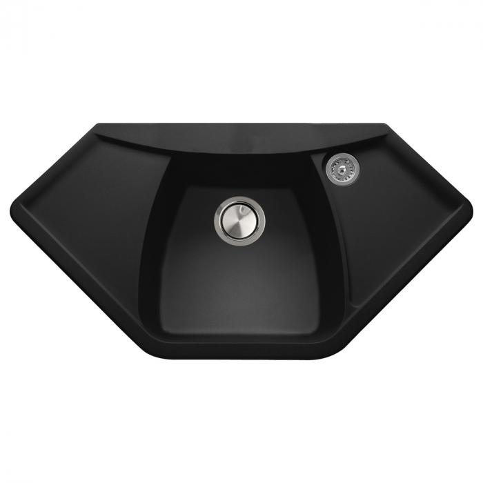 Chiuveta bucatarie granit de colt sau blat liniar CookingAid Naiky CX0981 Neagra / Black Metal quartz + accesorii montaj  0