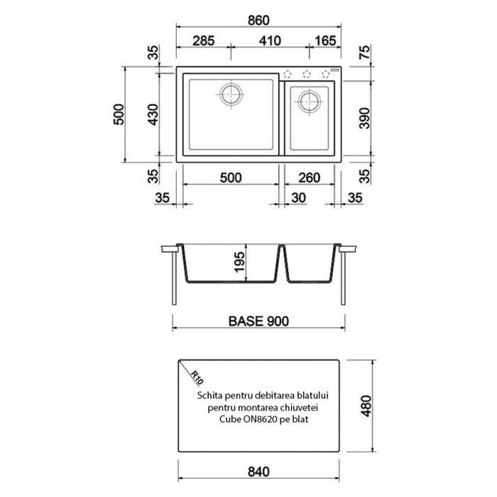 Chiuveta bucatarie granit dubla cu 2 cuve CookingAid Cube ON8620 Alba Galbui / Jasmine + accesorii montaj [3]