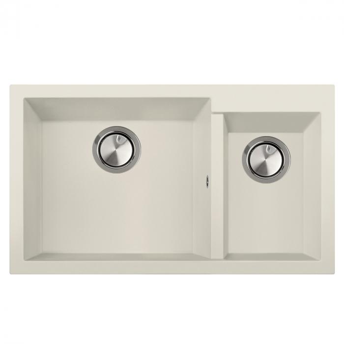 Chiuveta bucatarie granit dubla cu 2 cuve CookingAid Cube ON8620 Alba Galbui / Jasmine + accesorii montaj [1]