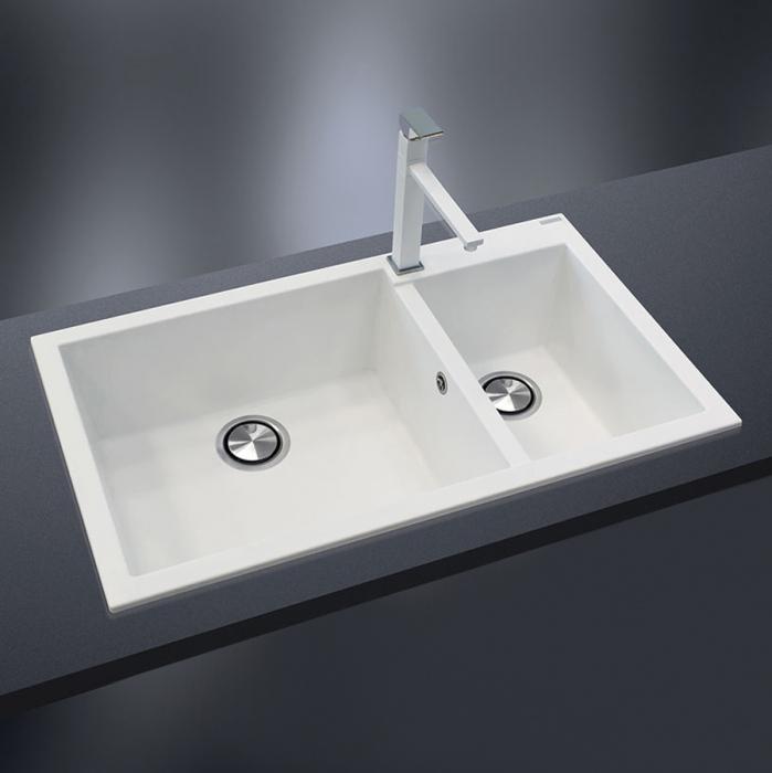 Chiuveta bucatarie granit dubla cu 2 cuve CookingAid Cube ON8620 Alba / Polar White + accesorii montaj 0