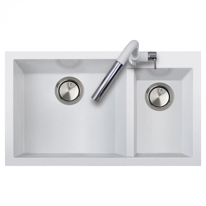 Chiuveta bucatarie granit dubla cu 2 cuve CookingAid Cube ON8620 Alba / Polar White [2]