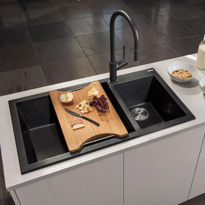 Chiuveta bucatarie granit dubla cu 2 cuve CookingAid Cube ON8620 Neagra / Black Metal quartz + accesorii montaj  0