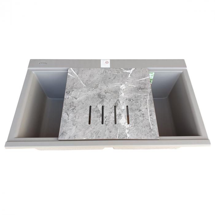 Chiuveta bucatarie granit dubla cu 2 cuve CookingAid Kinga LX8620 Maro Trufa / Truffle + accesorii montaj [10]