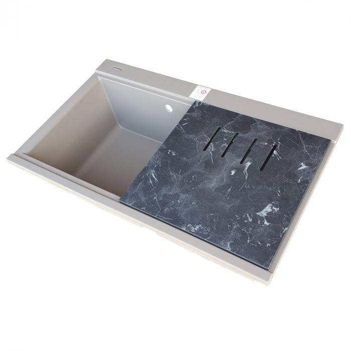 Chiuveta bucatarie granit dubla cu 2 cuve CookingAid Kinga LX8620 Maro Trufa / Truffle + accesorii montaj [7]
