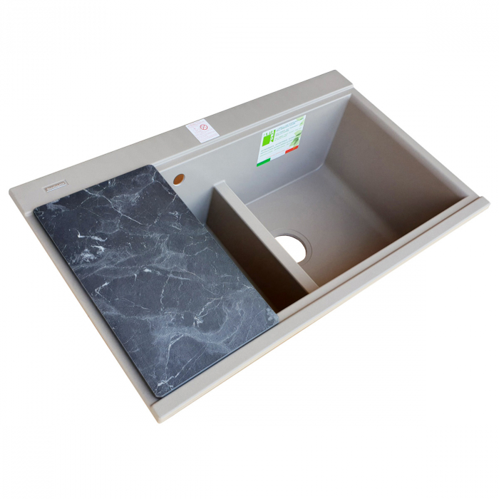Chiuveta bucatarie granit dubla cu 2 cuve CookingAid Kinga LX8620 Maro Trufa / Truffle + accesorii montaj [12]