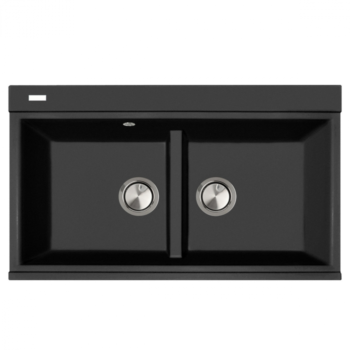 Chiuveta bucatarie granit dubla cu 2 cuve CookingAid Kinga LX8620 Neagra Antracit / Black Nanostone + accesorii montaj 0