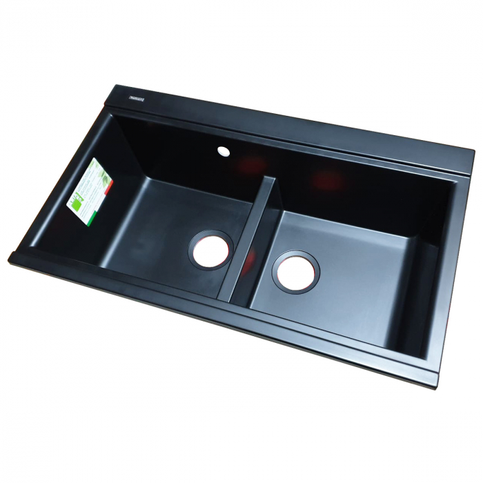 Chiuveta bucatarie granit dubla cu 2 cuve CookingAid Kinga LX8620 Neagra Antracit / Black Nanostone + accesorii montaj 4