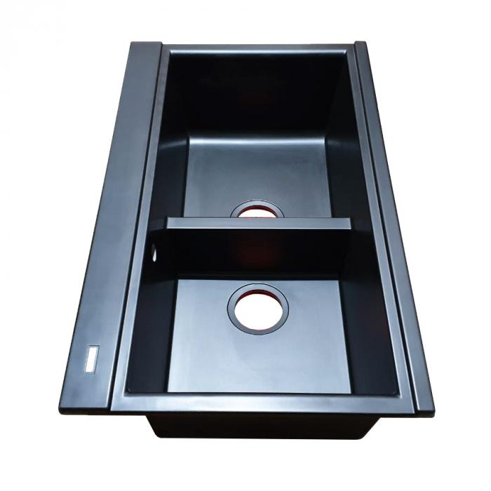 Chiuveta bucatarie granit dubla cu 2 cuve CookingAid Kinga LX8620 Neagra Antracit / Black Nanostone + accesorii montaj 5