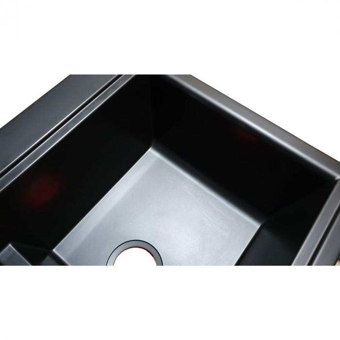 Chiuveta bucatarie granit dubla cu 2 cuve CookingAid Kinga LX8620 Neagra Antracit / Black Nanostone + accesorii montaj 3