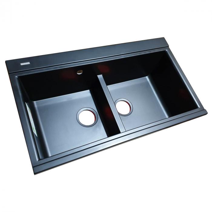 Chiuveta bucatarie granit dubla cu 2 cuve CookingAid Kinga LX8620 Neagra Antracit / Black Nanostone + accesorii montaj 1