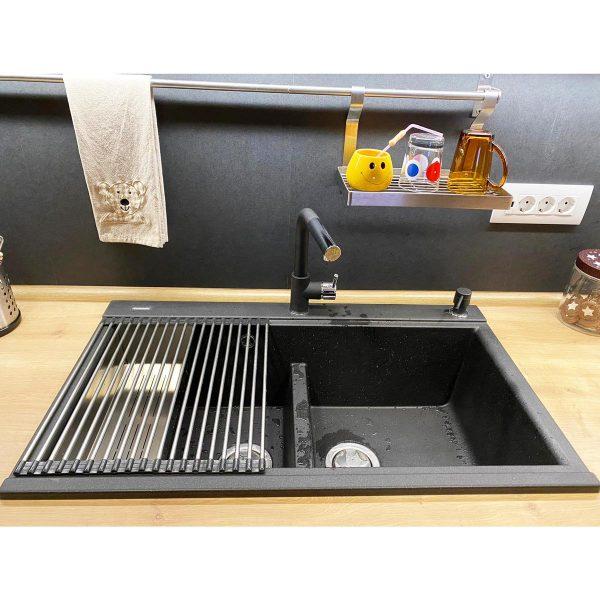 Chiuveta bucatarie granit dubla cu 2 cuve CookingAid Kinga LX8620 Neagra / Black Metal Quartz + accesorii montaj [15]
