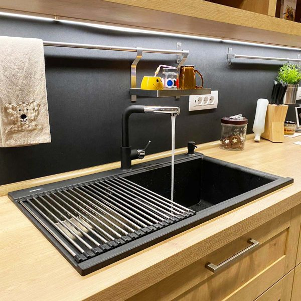 Chiuveta bucatarie granit dubla cu 2 cuve CookingAid Kinga LX8620 Neagra / Black Metal Quartz + accesorii montaj [9]