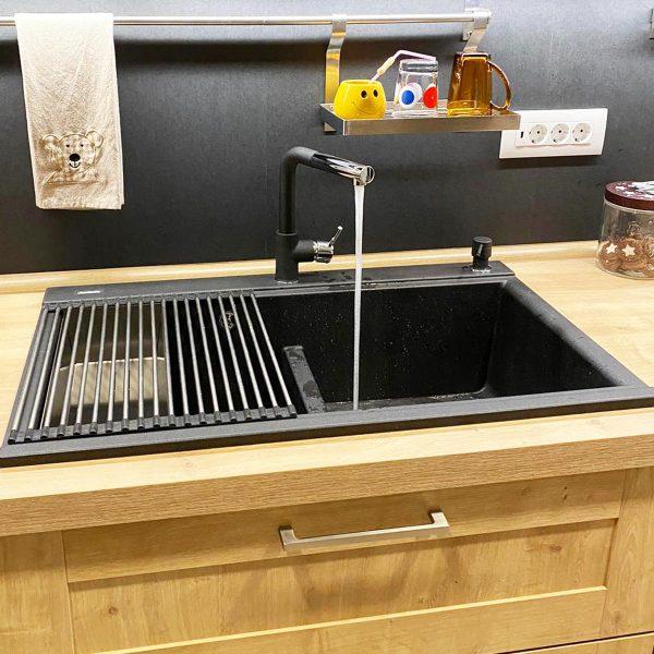 Chiuveta bucatarie granit dubla cu 2 cuve CookingAid Kinga LX8620 Neagra / Black Metal Quartz + accesorii montaj [13]