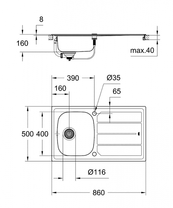 Chiuveta bucatarie Grohe K200 din inox, reversibila cu excentric [6]