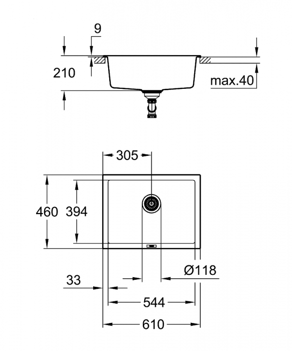 Chiuveta bucatarie Grohe K700, 560X510, o cuva, granit black sau grey [2]