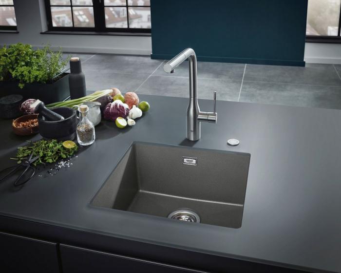 Chiuveta bucatarie Grohe K700, 560X510, o cuva, granit black sau grey [5]