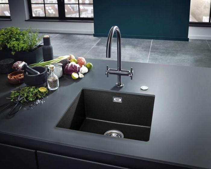 Chiuveta bucatarie Grohe K700, 560X510, o cuva, granit black sau grey [1]
