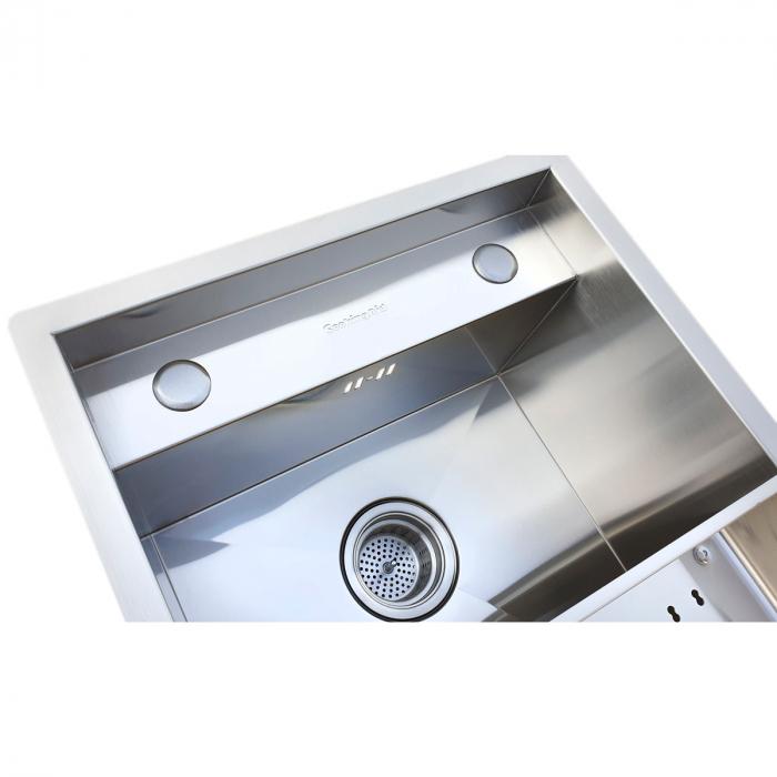 Chiuveta bucatarie inox CookingAid INVISIBLE DEEP cu baterie telescopica integrata, scurgator vase/paste/fructe, tocator sticla temperizata, dozator detergent + accesorii montaj [6]
