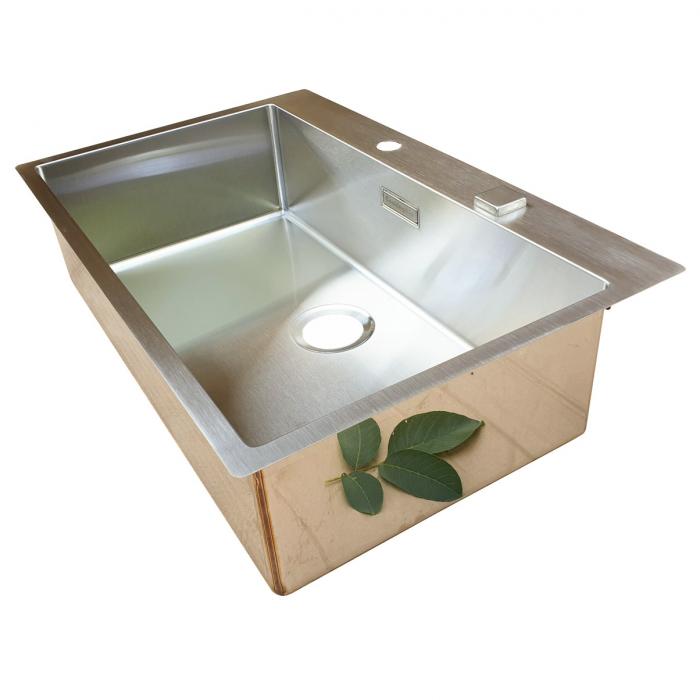 Chiuveta bucatarie inox CookingAid BOX LUX 76 cu ventil automat scurgere + accesorii montaj 10