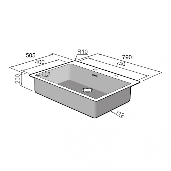 Chiuveta bucatarie inox CookingAid BOX LUX 76 cu ventil automat scurgere + accesorii montaj 15