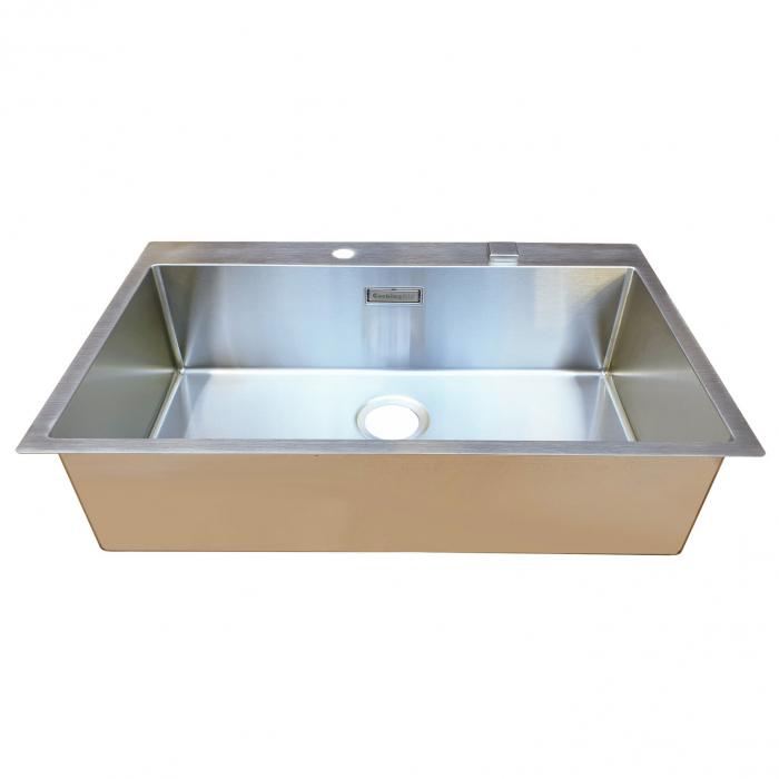 Chiuveta bucatarie inox CookingAid BOX LUX 76 cu ventil automat scurgere + accesorii montaj 6