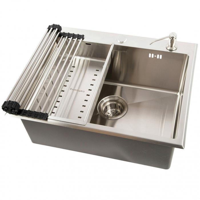 Chiuveta bucatarie inox CookingAid CLIO cu dozator detergent, scurgator vase/paste/fructe, gratar rulabil inox + accesorii montaj 0