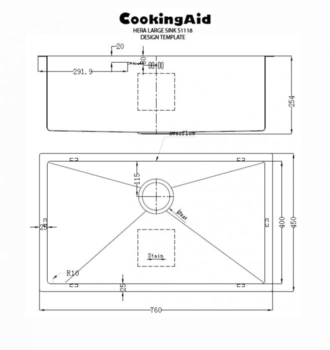 Chiuveta bucatarie inox CookingAid HERA LARGE cu accesorii montaj [9]
