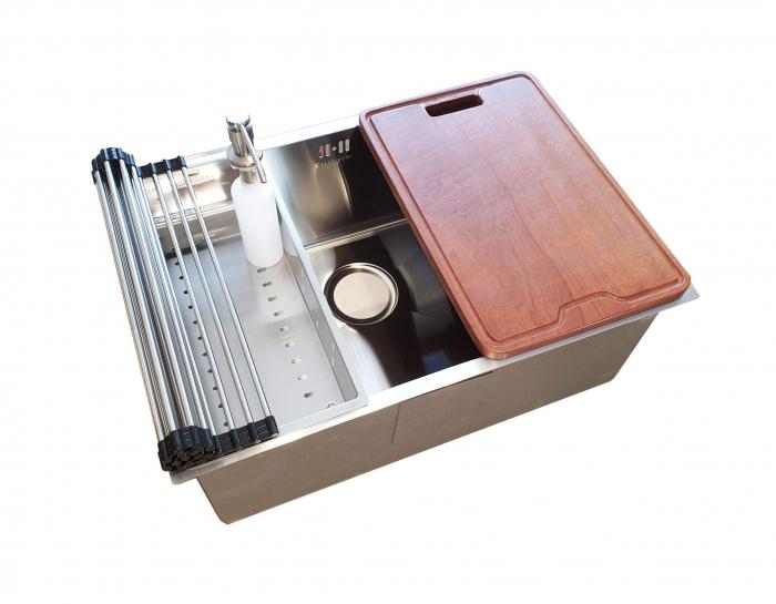 Chiuveta bucatarie inox CookingAid HERA STANDARD cu dozator detergent, scurgator vase/paste/fructe, gratar rulabil inox, tocator lemn Sapele + accesorii montaj 8