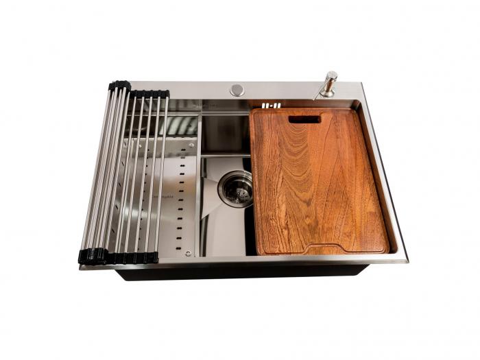 Chiuveta bucatarie inox CookingAid HERA TOP cu dozator detergent, scurgator vase/paste/fructe, gratar rulabil inox, tocator lemn Sapele + accesorii montaj [1]