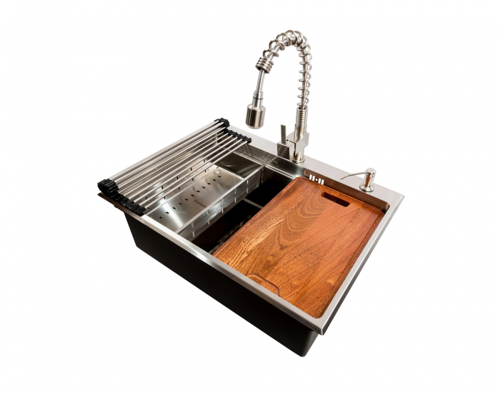 Chiuveta bucatarie inox CookingAid HERA TOP cu dozator detergent, scurgator vase/paste/fructe, gratar rulabil inox, tocator lemn Sapele + accesorii montaj [6]