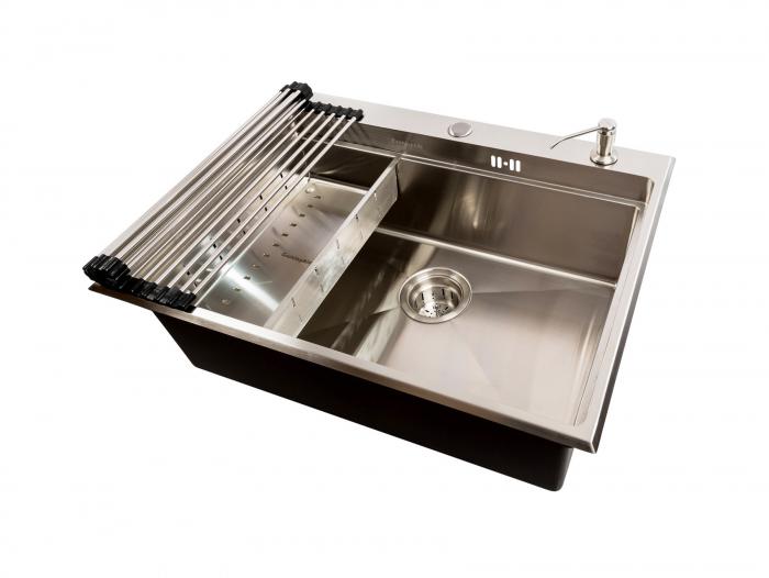 Chiuveta bucatarie inox CookingAid HERA TOP cu dozator detergent, scurgator vase/paste/fructe, gratar rulabil inox, tocator lemn Sapele + accesorii montaj [2]