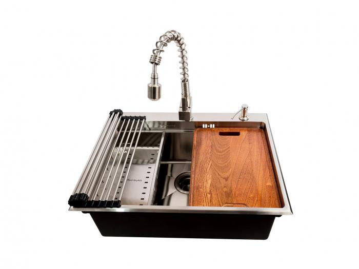 Chiuveta bucatarie inox CookingAid HERA TOP cu dozator detergent, scurgator vase/paste/fructe, gratar rulabil inox, tocator lemn Sapele + accesorii montaj [7]