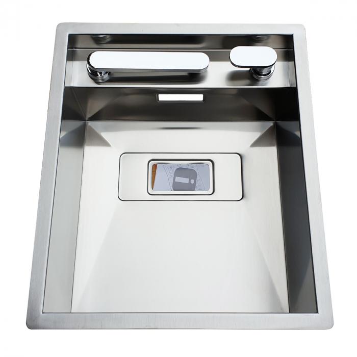 Chiuveta bucatarie inox CookingAid INVISIBLE 40R cu baterie telescopica integrata, capac scurgere invizibil, tocator sticla temperizata + accesorii montaj [6]